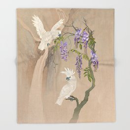Cockatoos and Wisteria Throw Blanket