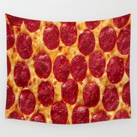 pizza Wall Tapestries featuring PIZZA by I Love Decor