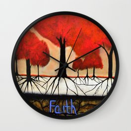 Roots--spiritual abstract painting by Saribelle Wall Clock