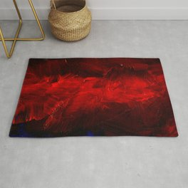 Red And Black Luxury Abstract Gothic Glam Chic by Corbin Henry Rug