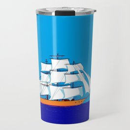 A Clipper Ship at Sunset, Pink clouds and Sun, Nautical Scene Travel Mug