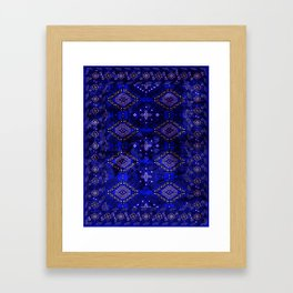 N128 - Royal Blue Traditional Oriental Moroccan Style Design  Framed Art Print