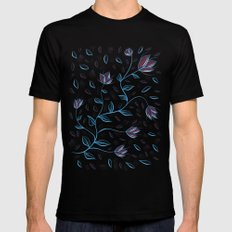 Abstract Glowing Blue Flowers Black Mens Fitted Tee MEDIUM