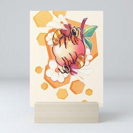 Bees & Apricot Mini Art Print