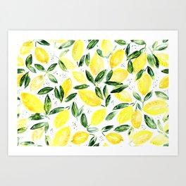 So luscious lemons    watercolor Art Print