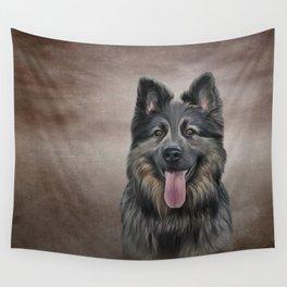 Drawing German Shepherd Dog Wall Tapestry