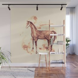 Horse sepia illustration Wall Mural