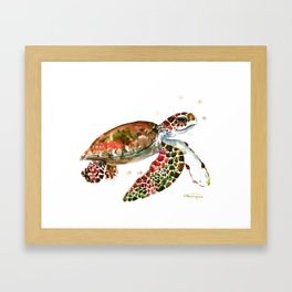 Sea Turtle, Brown, Olive green Pink Shades Framed Art Print