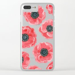 Poppies watercolor Clear iPhone Case