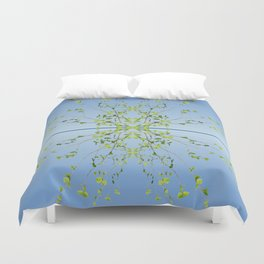 Birch on blue Duvet Cover