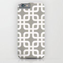 Mid-Century Modern Geometric Pattern, rounded corner squares interlocking iPhone Case