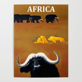 Vintage Africa Travel - Water Buffalo Poster