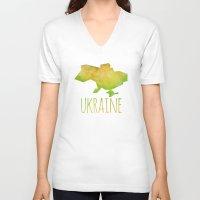 ukraine V-neck T-shirts featuring Ukraine by Stephanie Wittenburg