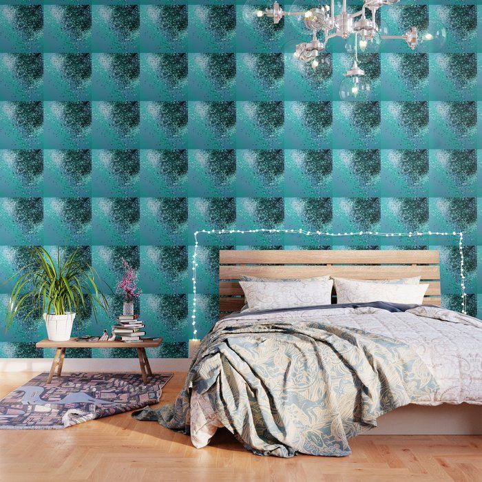 Aqua Blue OCEAN Glitter #1 #shiny #decor #art #society6 Wallpaper