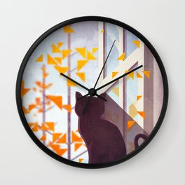 The Last Autumn Leaves Wall Clock