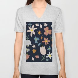 Blooming in the Navy (Handmade Floral Pattern) Unisex V-Neck