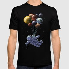 Space travel MEDIUM Black Mens Fitted Tee