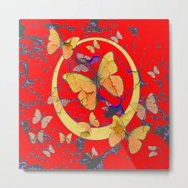 SHABBY CHIC GOLDEN BUTTERFLIES & RED ABSTRACT ART Metal Print