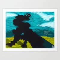 shadow of the colossus Art Prints featuring Shadow Of The Colossus Minimalist Cloudy Poster by LoweakGraph