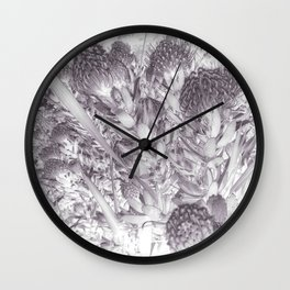Silver Pincushion Protea Wall Clock