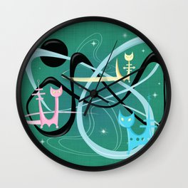 Atomic Rocket Cats In Space Wall Clock