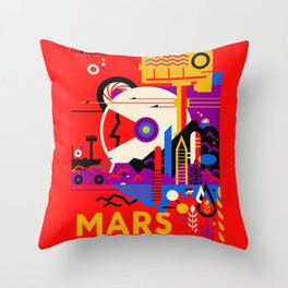 NASA Mars The Red Planet Retro Poster Futuristic Best Quality Throw Pillow