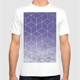 Geometric Marble Ultraviolet Purple Gold T-shirt