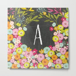 A botanical monogram. Letter initial with colorful flowers on a chalkboard background Metal Print