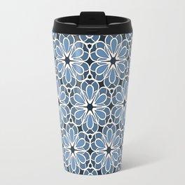 Symmetrical Flower Pattern in Blue Travel Mug