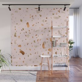 Blush terrazzo with gold and copper spots Wall Mural