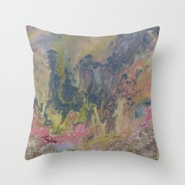 Day at the Beach Marble Throw Pillow
