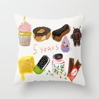 android Throw Pillows featuring android  by leonov andrew