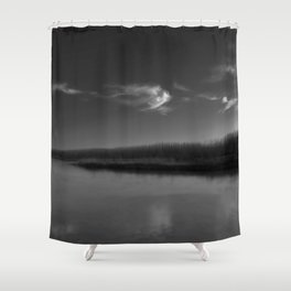 Winter Lake in Black and White Shower Curtain