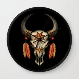 Decorated Native Bull Skull with Feathers Wall Clock