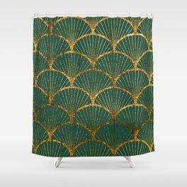 Emeral gold petal pattern Shower Curtain