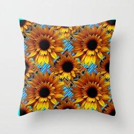 GOLDEN  ART DECO SUNFLOWERS TURQUOISE ART Throw Pillow