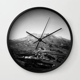 Mount St. Helens in Black and White - Holga Photograph Wall Clock