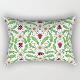 Ladybugs & Daisies - Cute Floral Bug Pattern with Ladybirds Rectangular Pillow