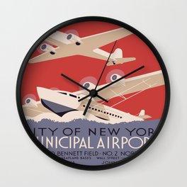 Vintage poster - New York Municipal Airports Wall Clock