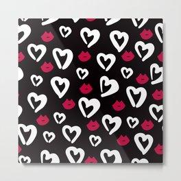 B&W Heart Pattern Metal Print