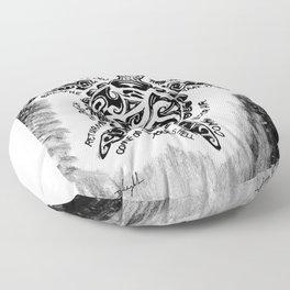 "'Honu Wisdom"" Hawaiian Sea Turtle, Ocean Original Art Drawing Floor Pillow"