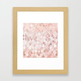 Mermaid Scales Pattern, Blush Pink and Rose Gold Framed Art Print