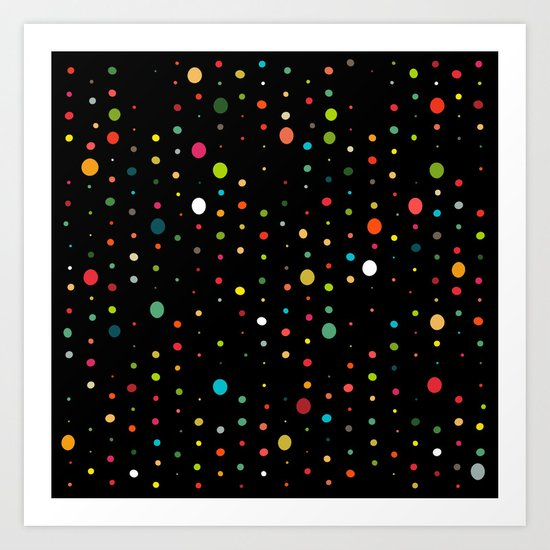 retro rain spots black Art Print