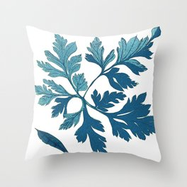 Blue Vintage Leaves Throw Pillow