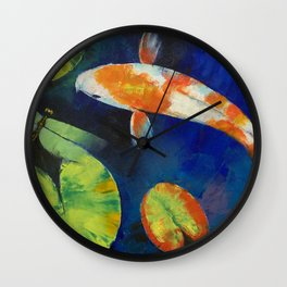 Kohaku Koi and Dragonfly Wall Clock