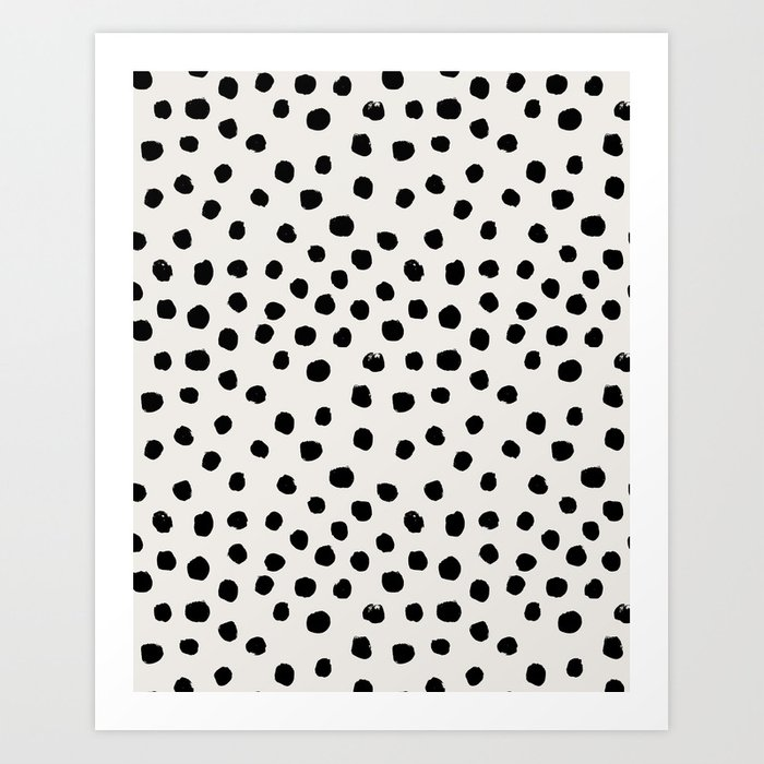 Preppy brushstroke free polka dots black and white spots dots dalmation animal spots design minimal Art Print