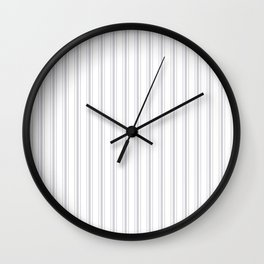 Soft Grey Mattress Ticking Wide Striped Pattern - Fall Fashion 2018 Wall Clock