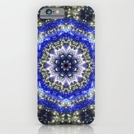 Happy Blues - blue and white kaleidoscope from lighted trees 1430 iPhone Case
