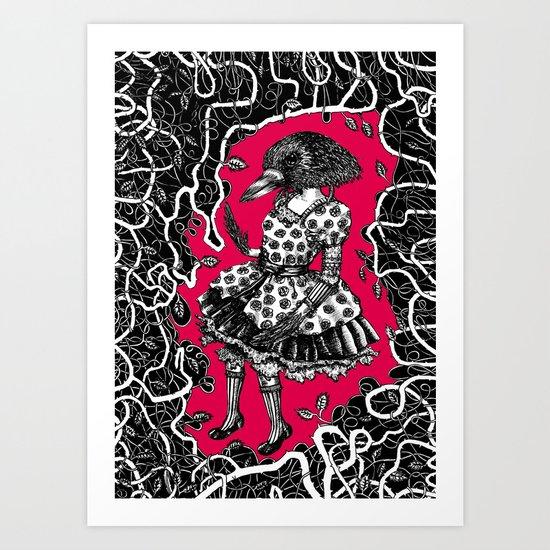 Crow Serie :: Aglaé (red) Art Print