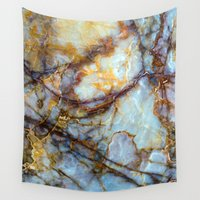 circle Wall Tapestries featuring Marble by Patterns and Textures